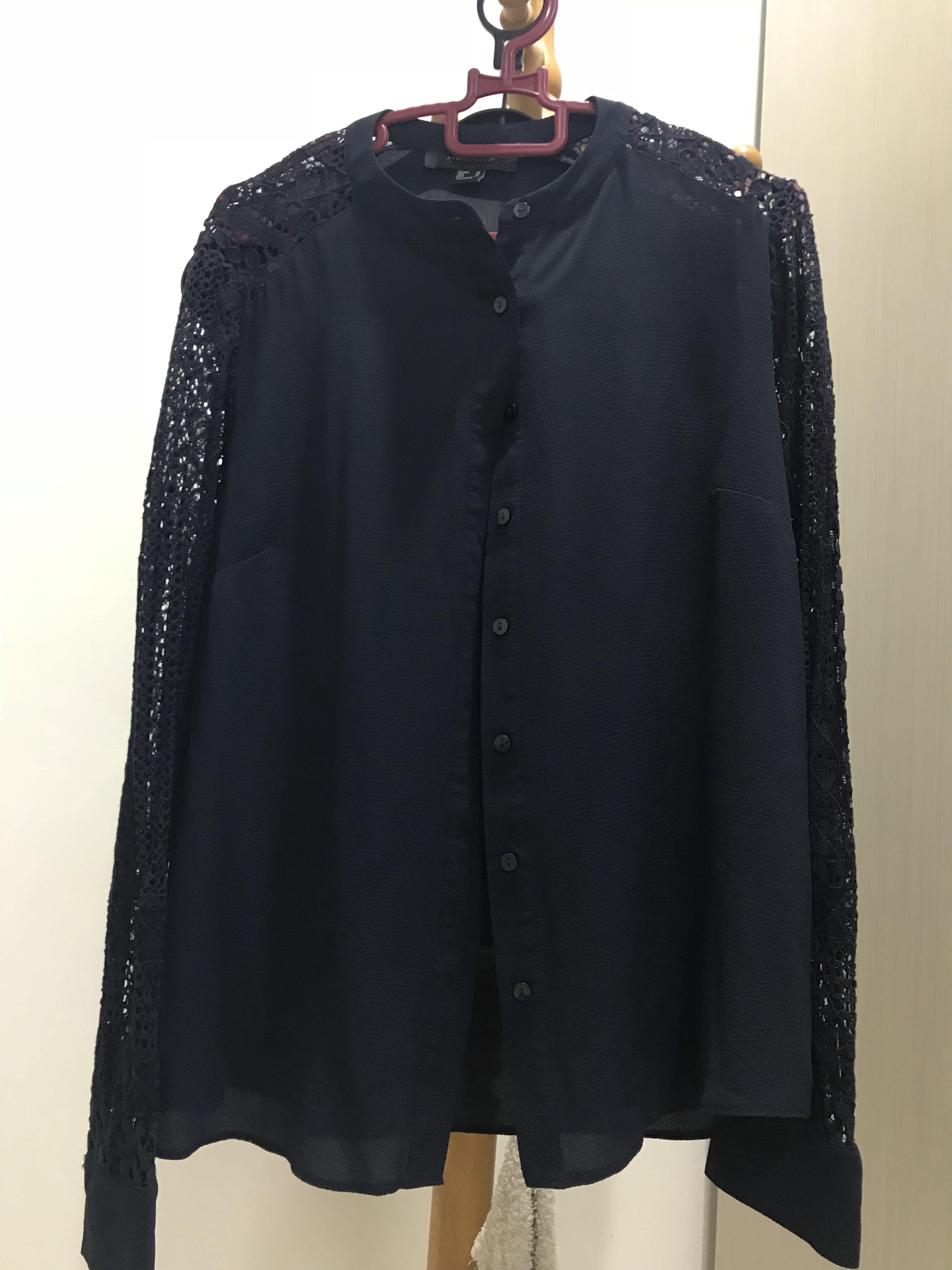 Blue black lace top