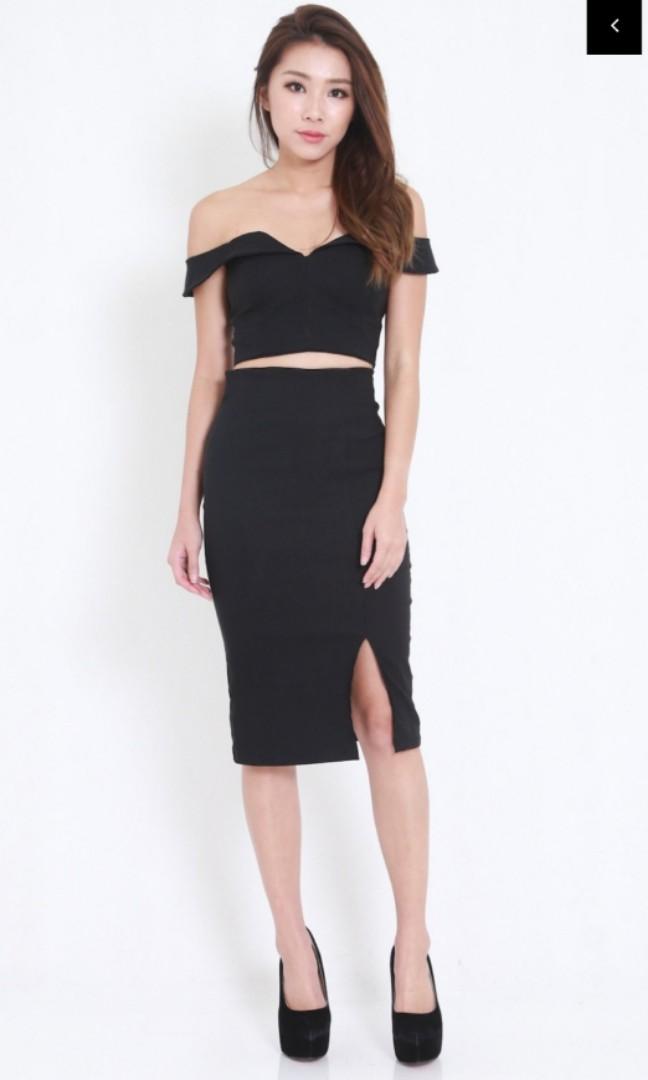 2151f27c2a161 Carrislabelle Sweetheart Midi 2pcs Set (Black), Women's Fashion ...