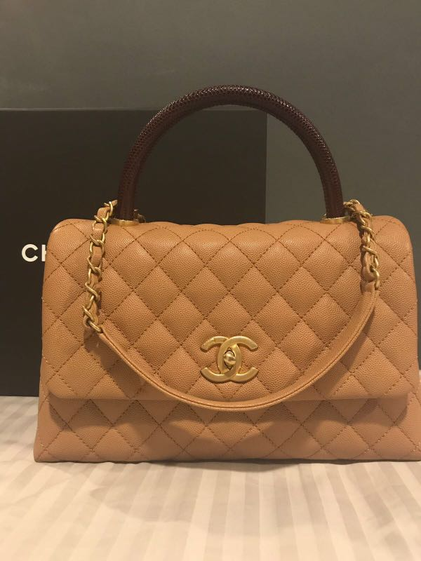 e5fee875188a Chanel coco lizard handle in small size caviar caramel and gold hardware,  Luxury, Bags & Wallets, Handbags on Carousell