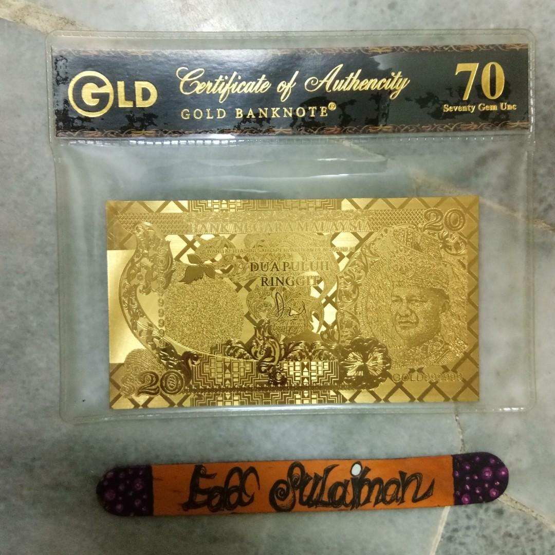 Gold banknote RM20