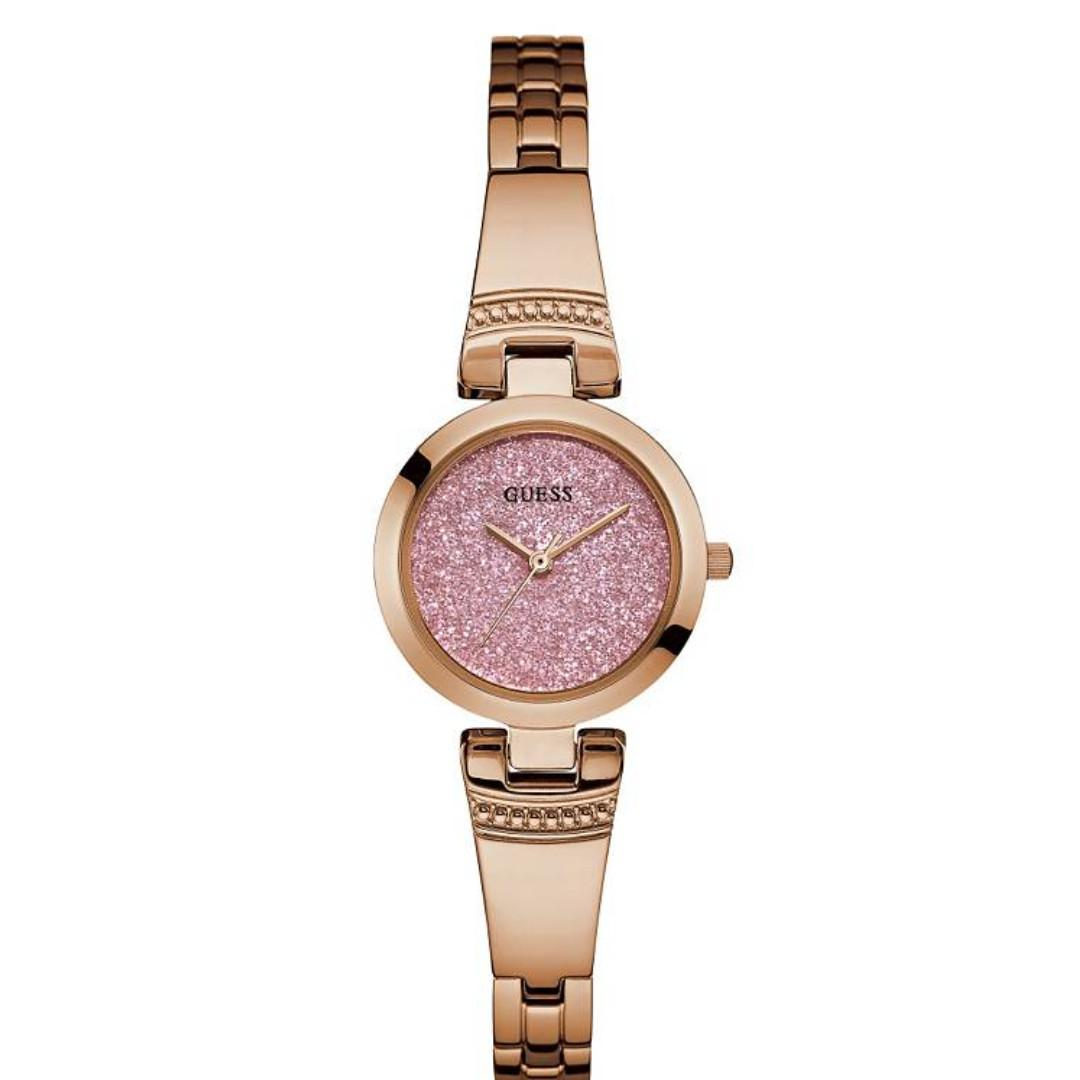 GUESS Women's Rose Gold Pink Glitz Petite Watch (Brand New)