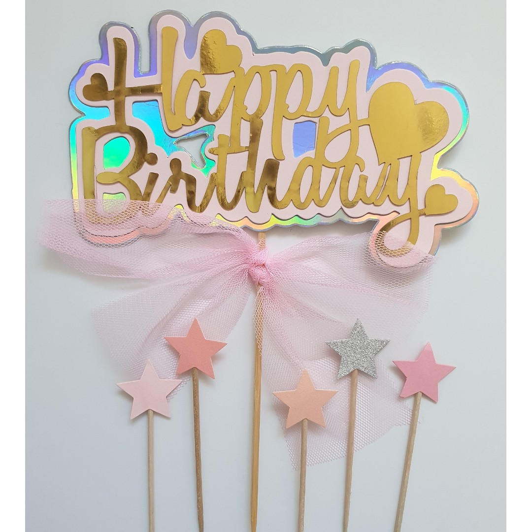 Happy Birthday Cake Topper With Coloured Stars Set