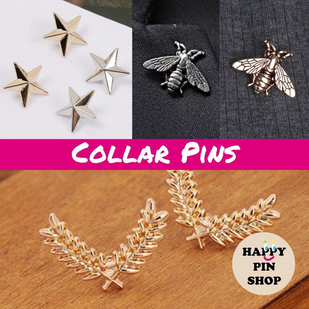 4eae0fdbb1e IN STOCK] Collar Pin, Lapel Pin: 3D Star, Bee, Laurel Wreath (Gold ...