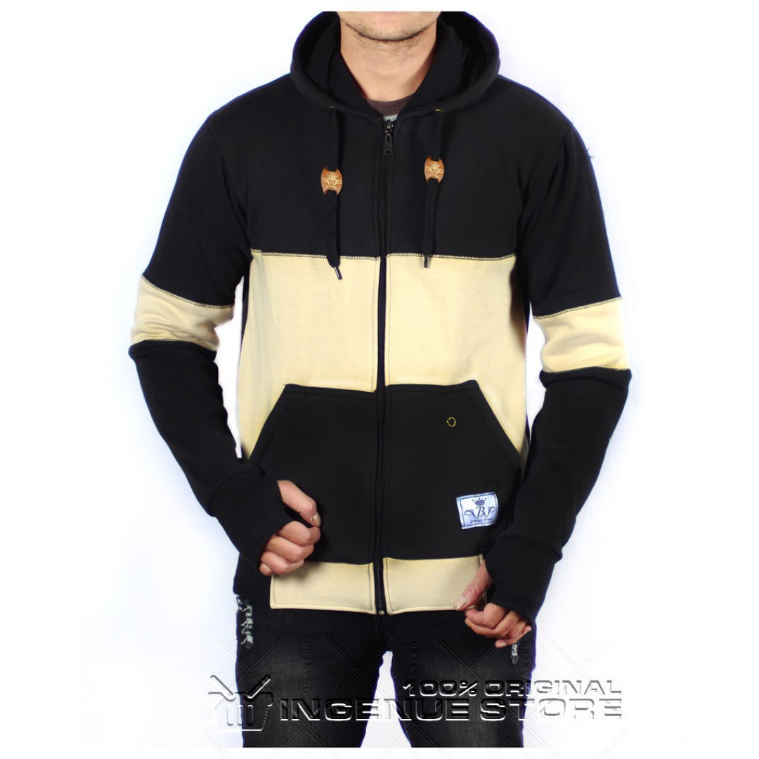 d754569d6629 JAKET HOODIE CATTON DOOR COMBI BLACK CREAM