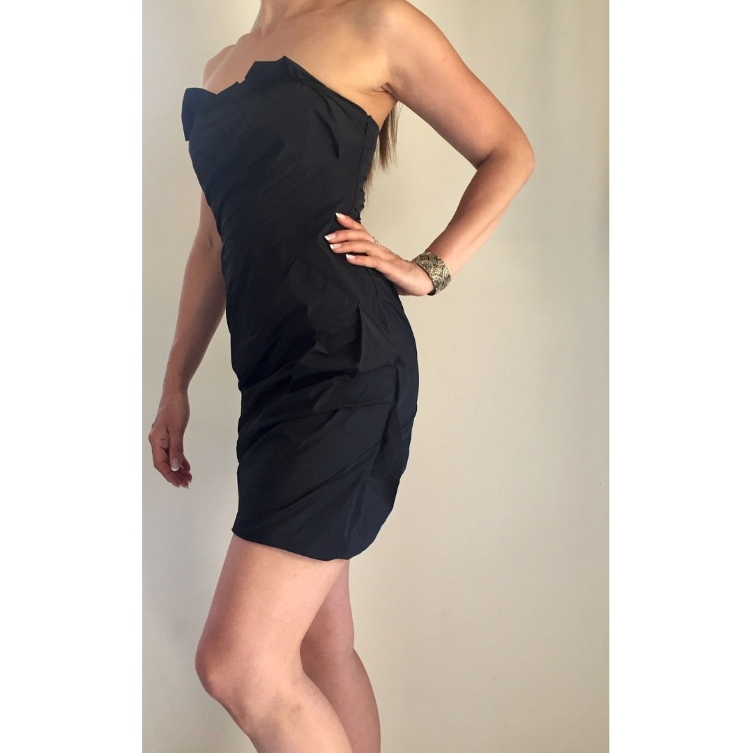 6b792cb38c KOOKAI Black Strapless Boned Bustier Formal Cocktail Mini Dress Sz 36 AU 8