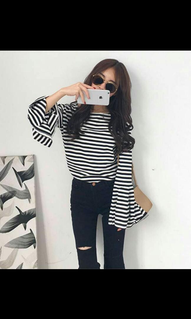 9a26cd03b4305d Korean Fashion Long Bell sleeves stripe blouse. PO, Women's Fashion ...