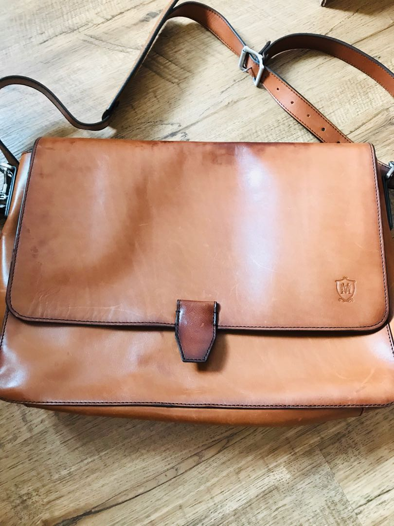 4b90ca353dd Massimo Dutti Leather Bag, Men's Fashion, Bags & Wallets, Briefcases ...