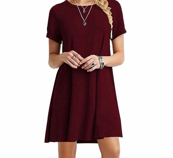 0376c40387ee Plain T-shirt Dress (Wine Red)