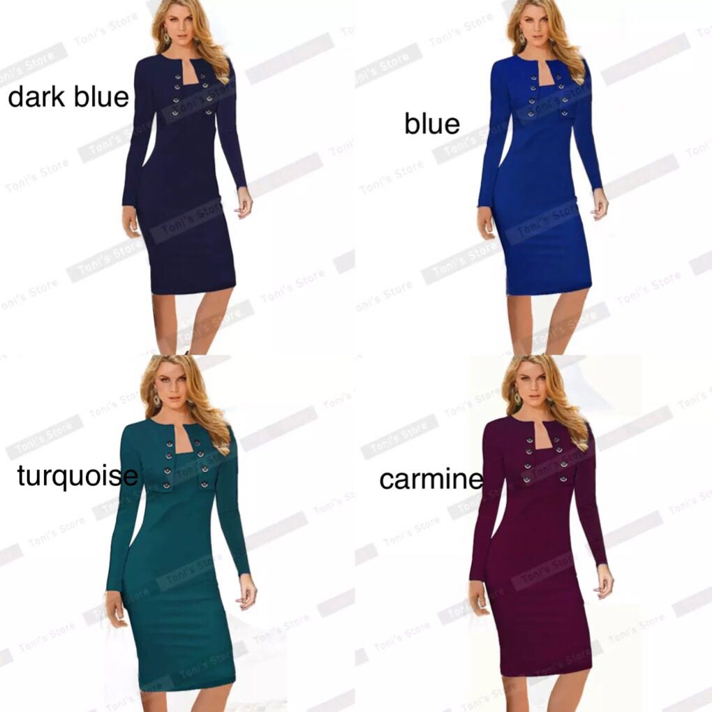 5ccd63531a617 PO) S-5XL Winter Long Sleeve Buttons Office Business Dress Elegant ...