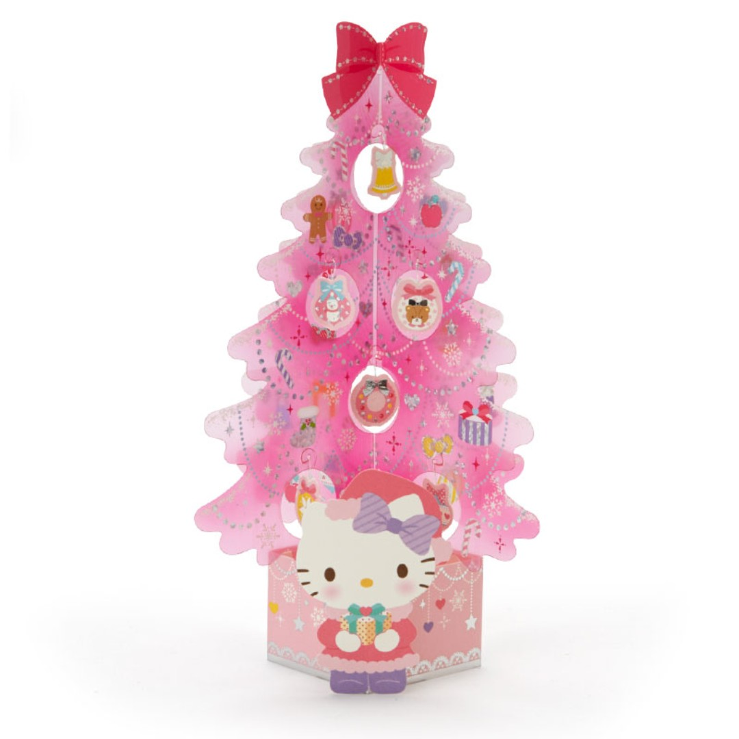 Po Sanrio Japan Hello Kitty Christmas Tree Card Pink Tree