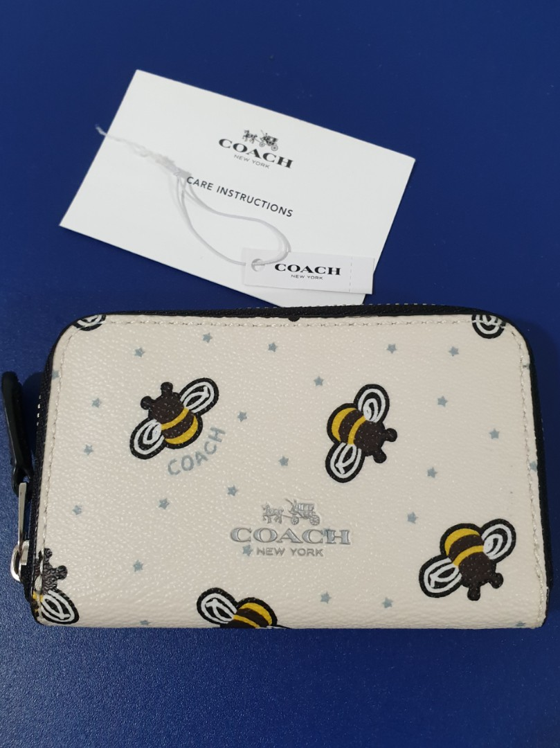 6a9d66351019e7 Imported - Coach Limited Edition Bee Print Zip Leather Coin/card ...