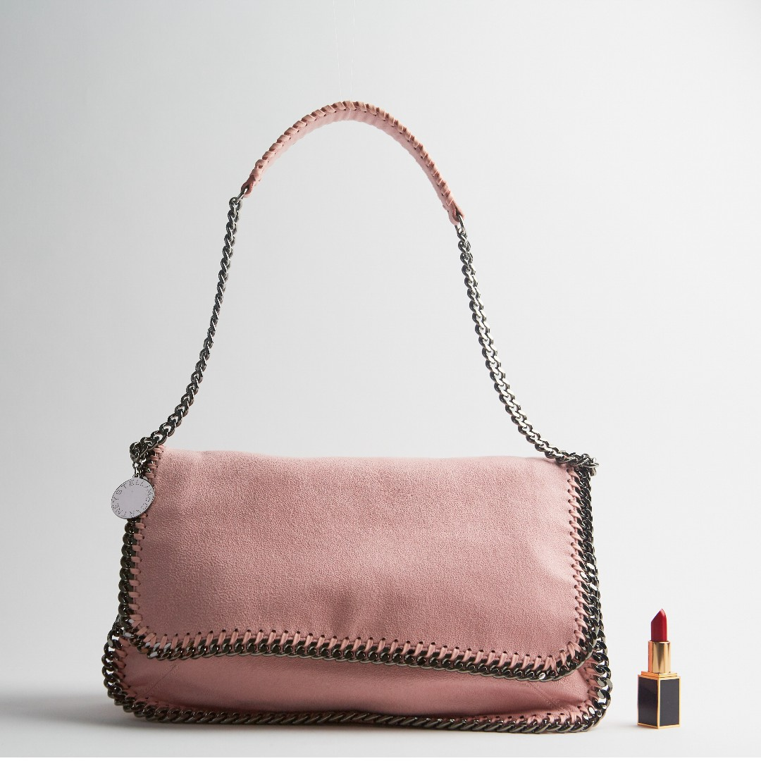 b858c90a85 Stella McCartney Falabella Shaggy Deer Shoulder Bag in Dusty Pink ...