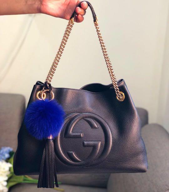 2017d7a21fd85e ❤️Super Good Deal!❤ Gucci Soho Tote in Black Grainy Calfskin ...