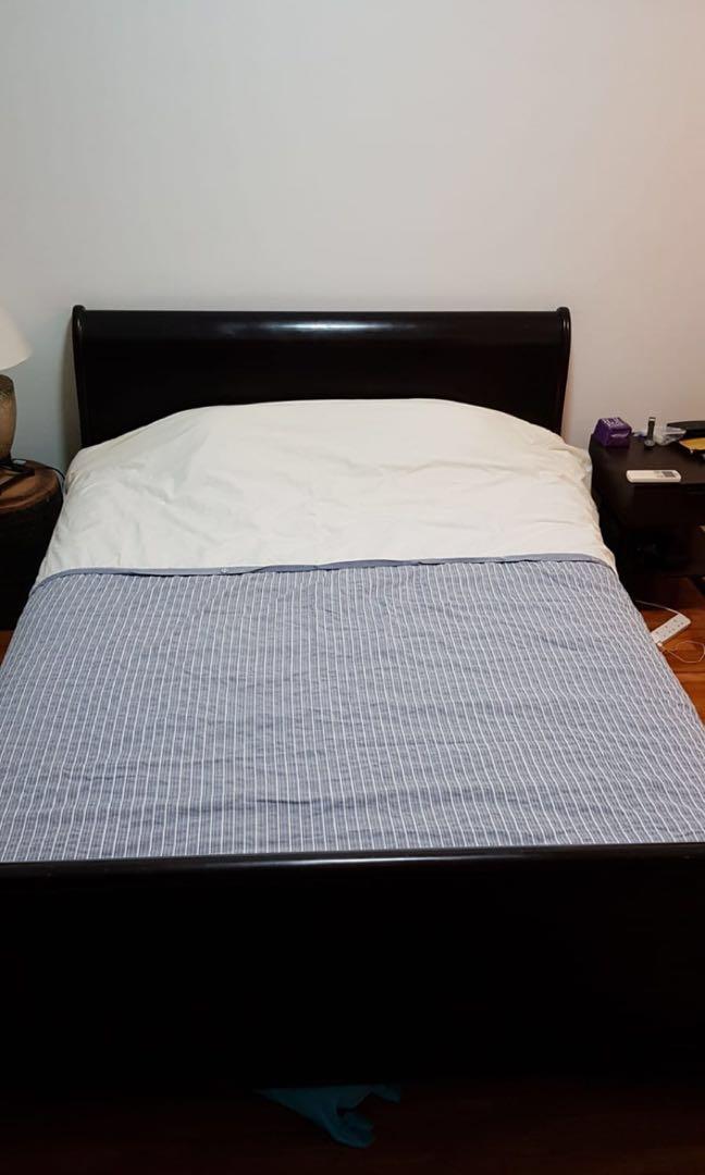 Teak Wood Sleigh Bed Frame Queen Size, Sleigh Bed Queen Size Mattress
