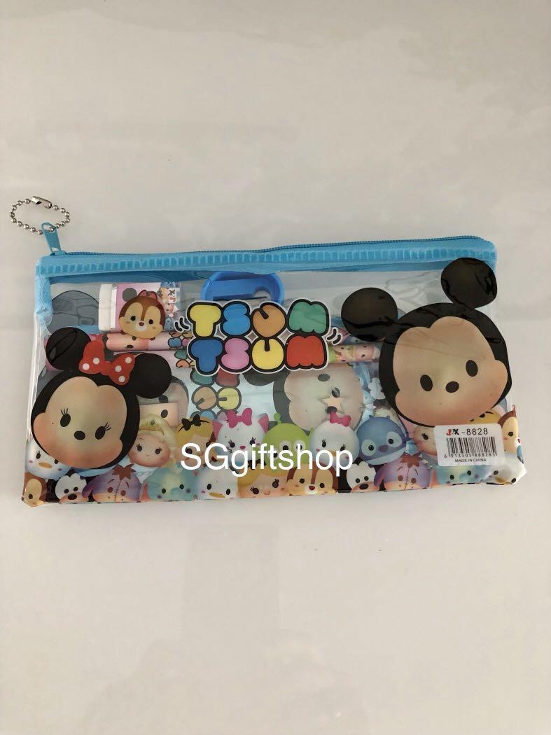 Tsum tsum blue pencil case stationary set - children's goodies bag, Christmas party door gift