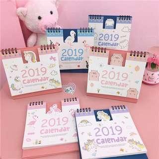 🎒訂貨▪️包郵▪️2019 長方立體座台月曆🦄 獨角獸 獨角馬 紅鶴 2019 Unicorn Flamingo Schedule Book