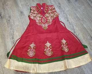 Deepavali Traditional Costume (Girl, size 22, red)