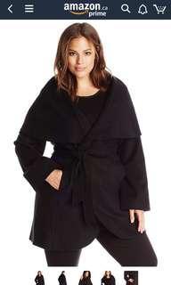 Tahari Black Plus-Size Wool-Blend Wrap Coat
