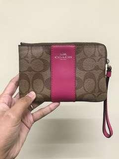 USED ONCE Coach Corner Zip Wristlet