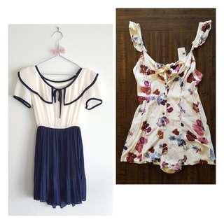 Front tie bow set (floral romper, sailor dress)