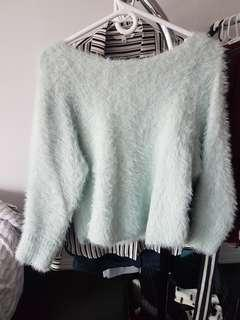 Fluffy mint sweater
