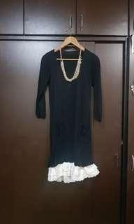 Black Dress with White Ruffled Hem