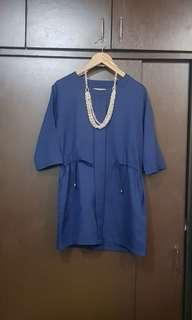 Blue Office Dress with Adjustable Strap