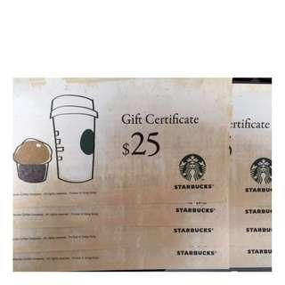 Starbucks $25 Gift Certificate - 9 pieces