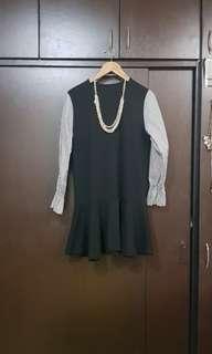 Black Dress with Oversized Sleeves & Ruffled Hem