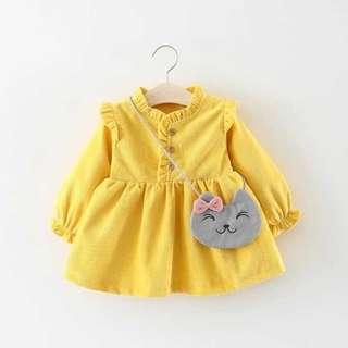 Baby Girl Dress Yellow Long Sleeves