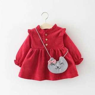 Baby Girls Dress Red Long Sleeves