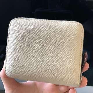 Rare! Real! OP$6000! Hermes silk in short wallet (beige)