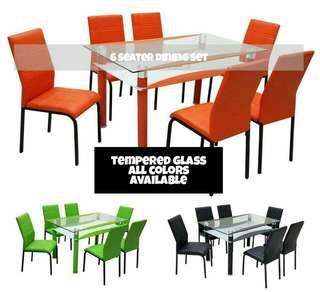 Tempered Glass Dining Set 4/6 Seater
