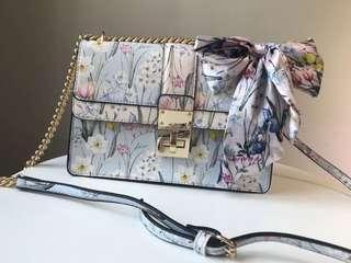 Aldo Brand New Flora Satin Ribbon Bow Crossbody Bag Flower Shoulder Bag Chain Bag Fold Cover Bag Women's Handbag