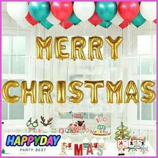 merry christmas xmas letter set foil balloons in gold