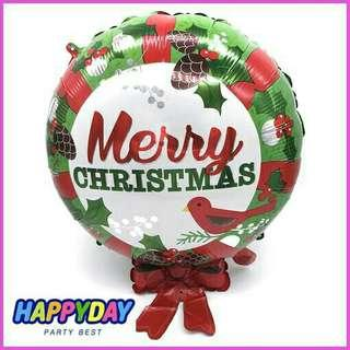 merry xmas christmas with ribbon foil balloon 18inches