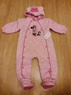 全新正版 disney minnie 米妮 嬰兒夾棉連身褲 入面搖粒超暖 腳套可拆 合9個月至2歲