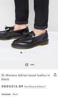 Black Authentic Dr. Martens Adrian Leather Loafers