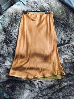 Satin gold midi skirt