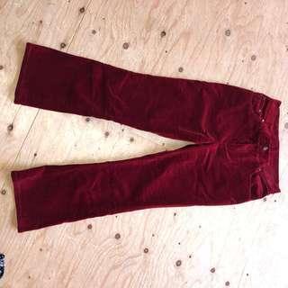 Ralph Lauren red velvet bell bottom pants - size 2P