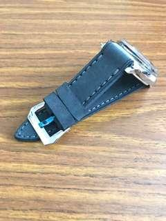 26mm/26mm Yale Blue Leather Watch Strap and Light Blue stitching (the only piece) for Panerai Watch 🌟  (comfortable suede-like feel)