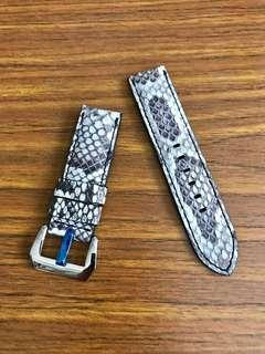 24mm/24mm Genuine Himalayan White Ash Brown 🐍 Python Watch Strap for Gruppo Gamma Panerai Watch 🌟