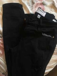 FRAME denim black le skinny distressed ripped jeans size 25