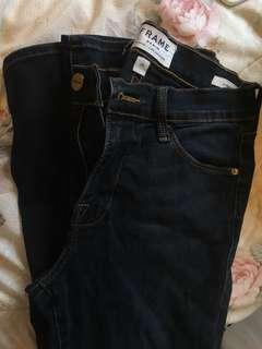 FRAME denim le high skinny dark blue jeans size 25