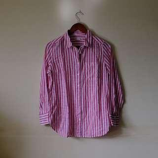 TARGET Red and white vertical striped button down