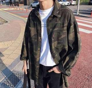 🚚 男裝秋季插件風工裝迷彩襯衫男士日系原宿風學生長袖襯衣外套