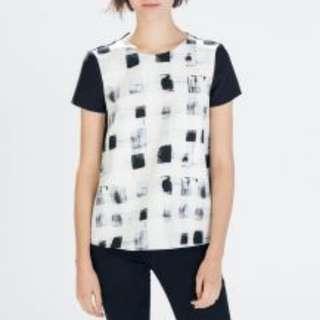 ZARA Size XS Black White Short Sleeve Graffiti Print Top