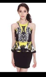 MDS Limited Edition Fancy Peplum Yellow Black Digital Abstract Neoprene Dress