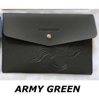 STARBUCKS CLUTCH ARMY GREEN