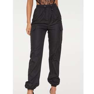 BLACK SHELL SUIT JOGGERS WITH TOGGLE WAIST